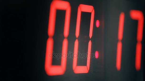 Velké digitální hodiny červené, odpočítávání časovače