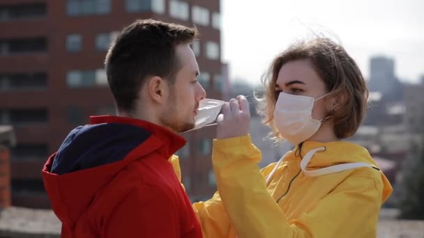 Virus epidemic, woman and man are protected