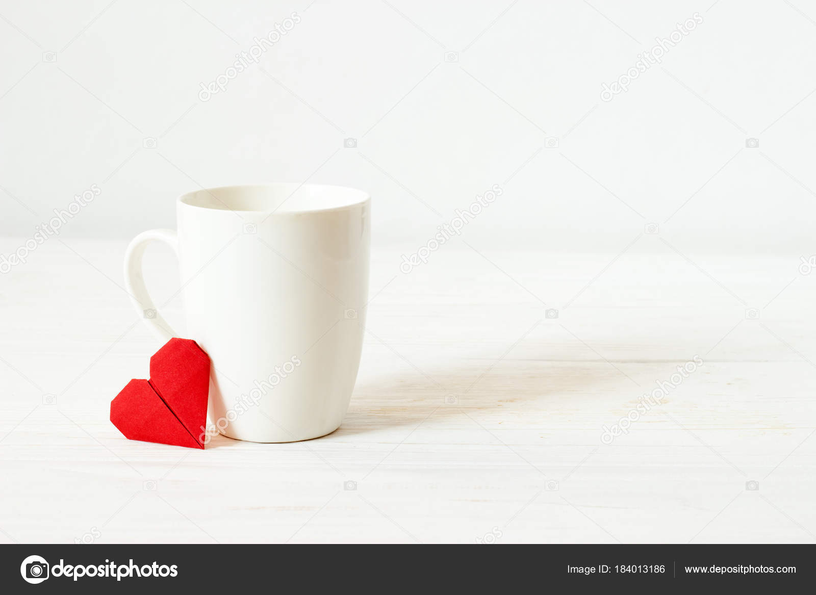 White Cup Origami Red Heart Copy Spase Mockup Empty Mug Stock