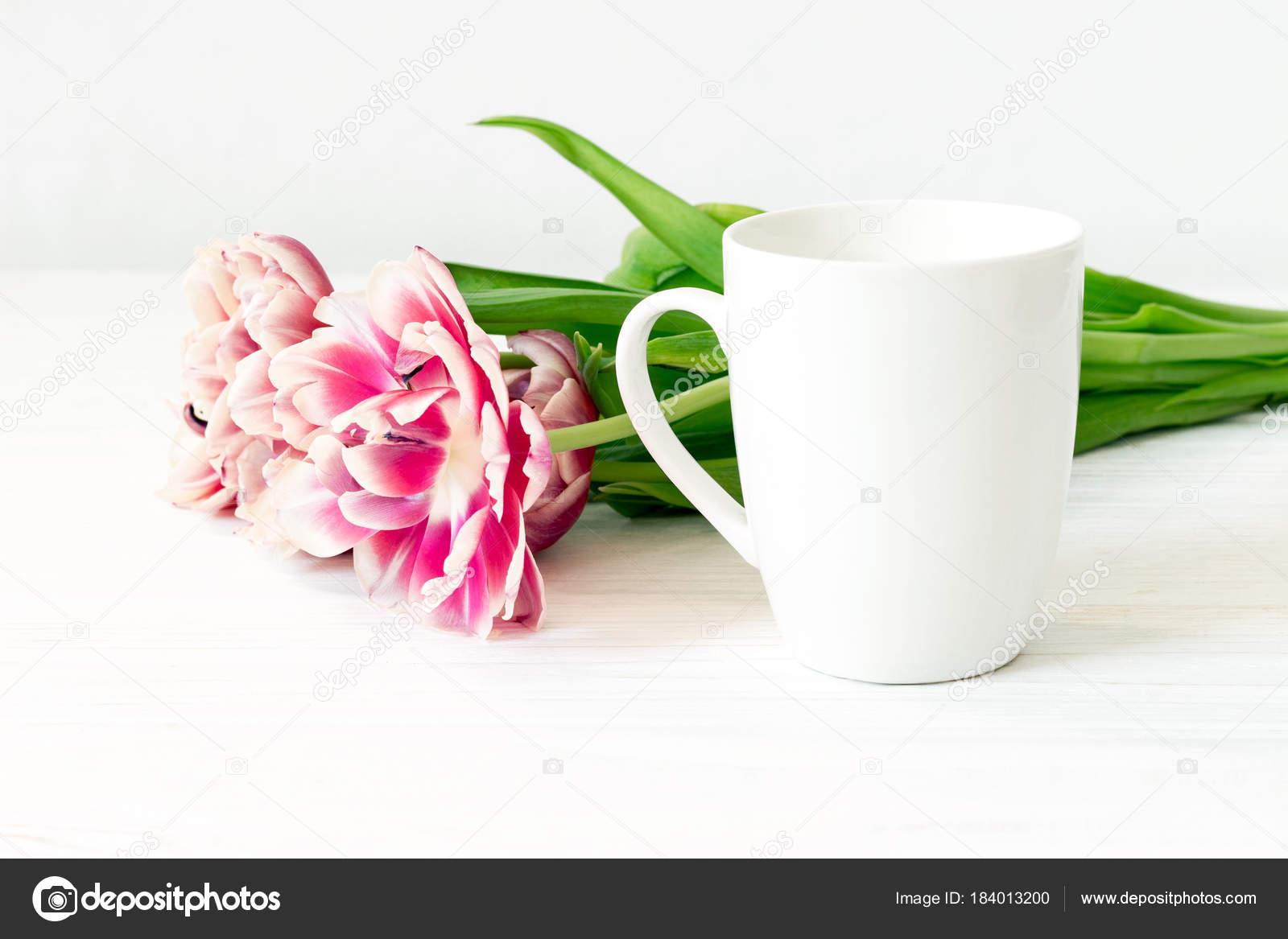 White Cup Mockup Close Empty Mug Tulips Wooden White Background