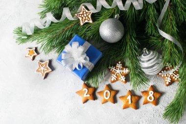 Christmas background with festive decoration, bow of gift, ginge