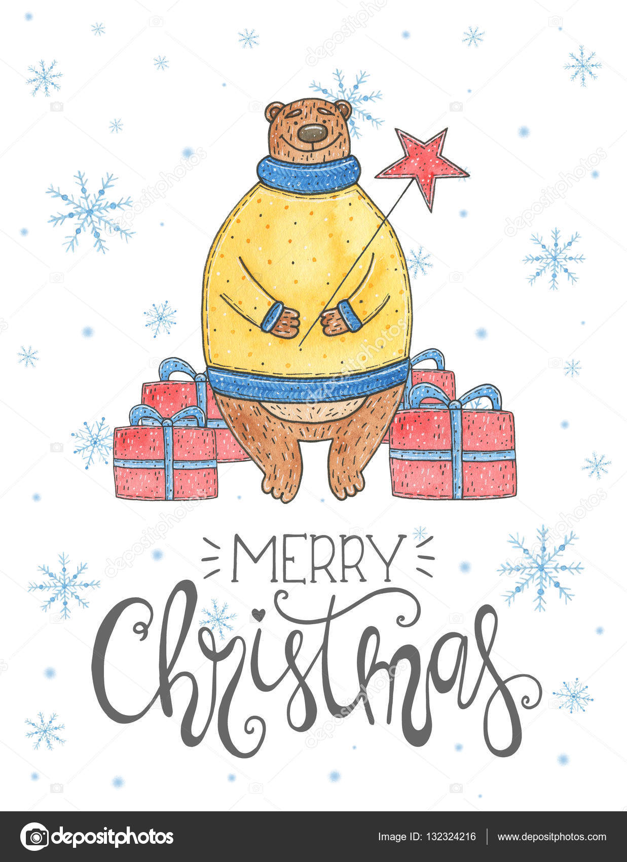 Watercolor Christmas Card With Bear And Lettering Merry Christmas
