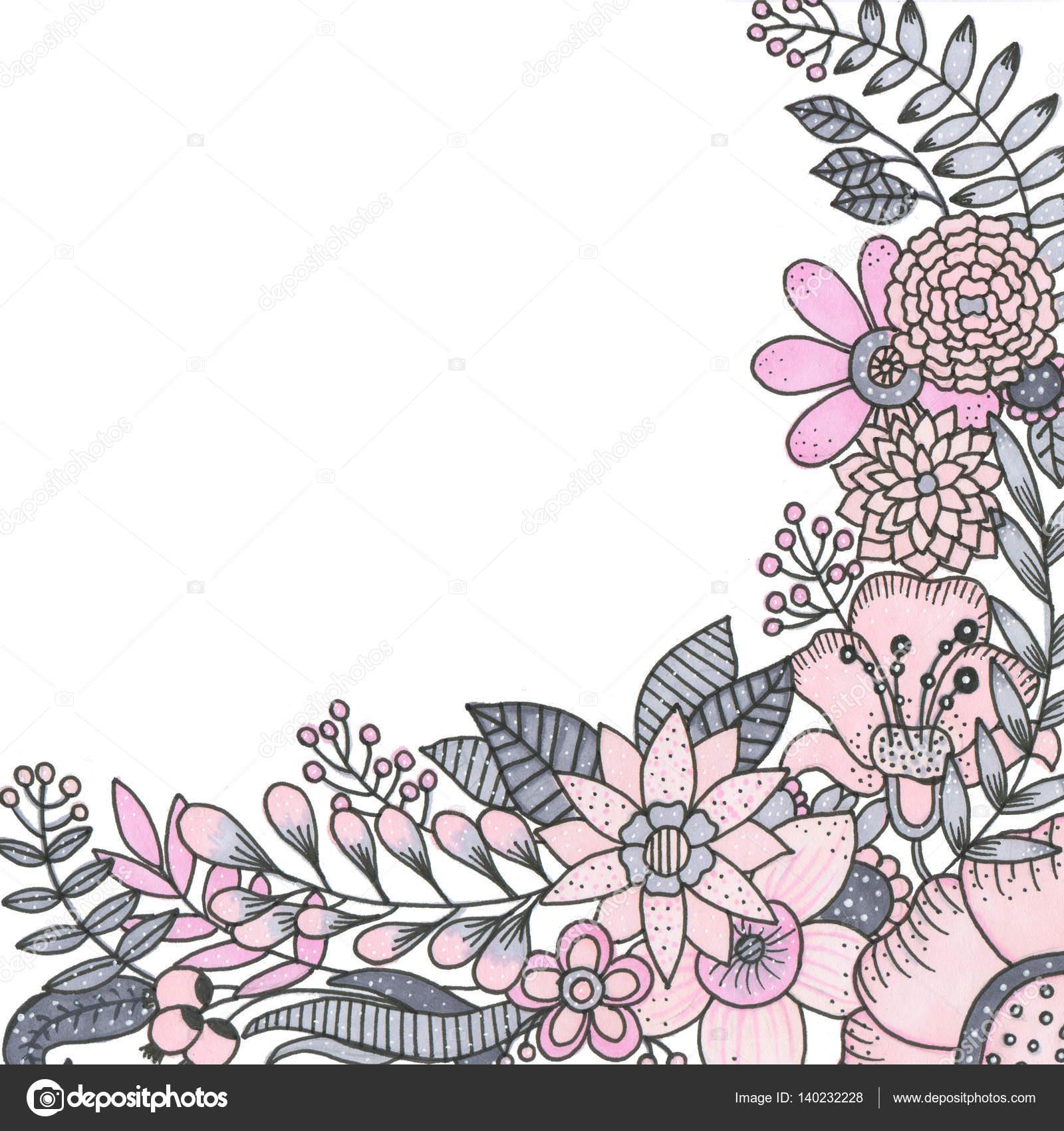 Ramo de marcadores de flores aisladas en ilustración de fondo blanco ...