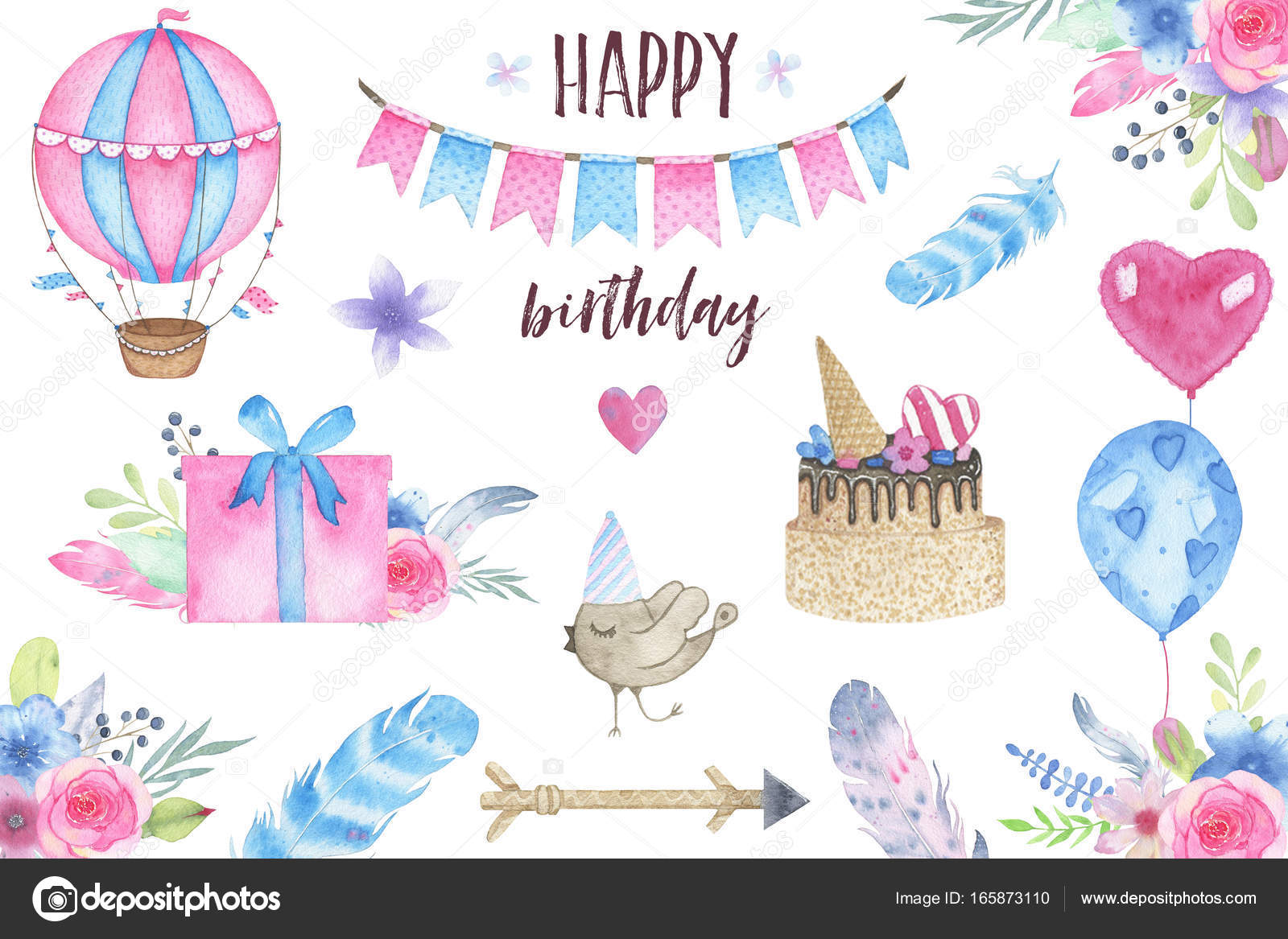 Watercolor happy birthday party set with bird air balloon garland watercolor happy birthday party set with bird air balloon garland and flowers bouquets feathers arrow gift izmirmasajfo Image collections