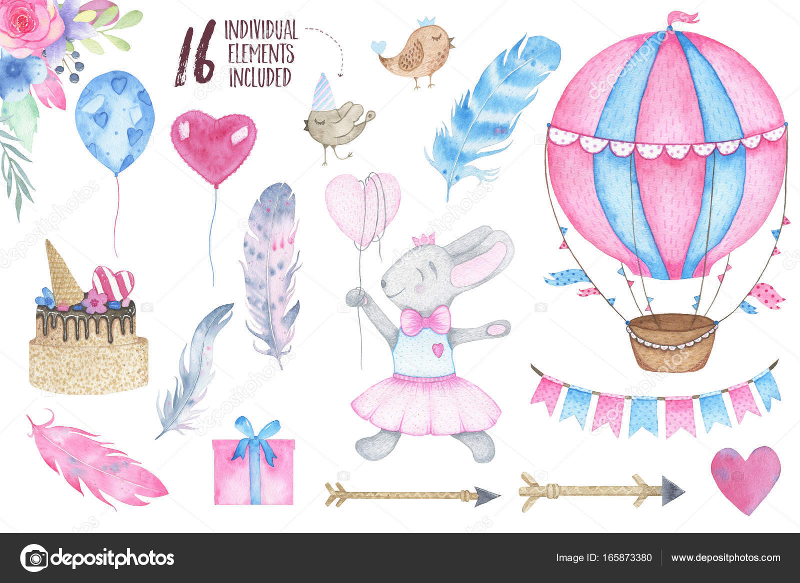 Watercolor Happy Birthday Party Set With Bird Bunny Air Balloon