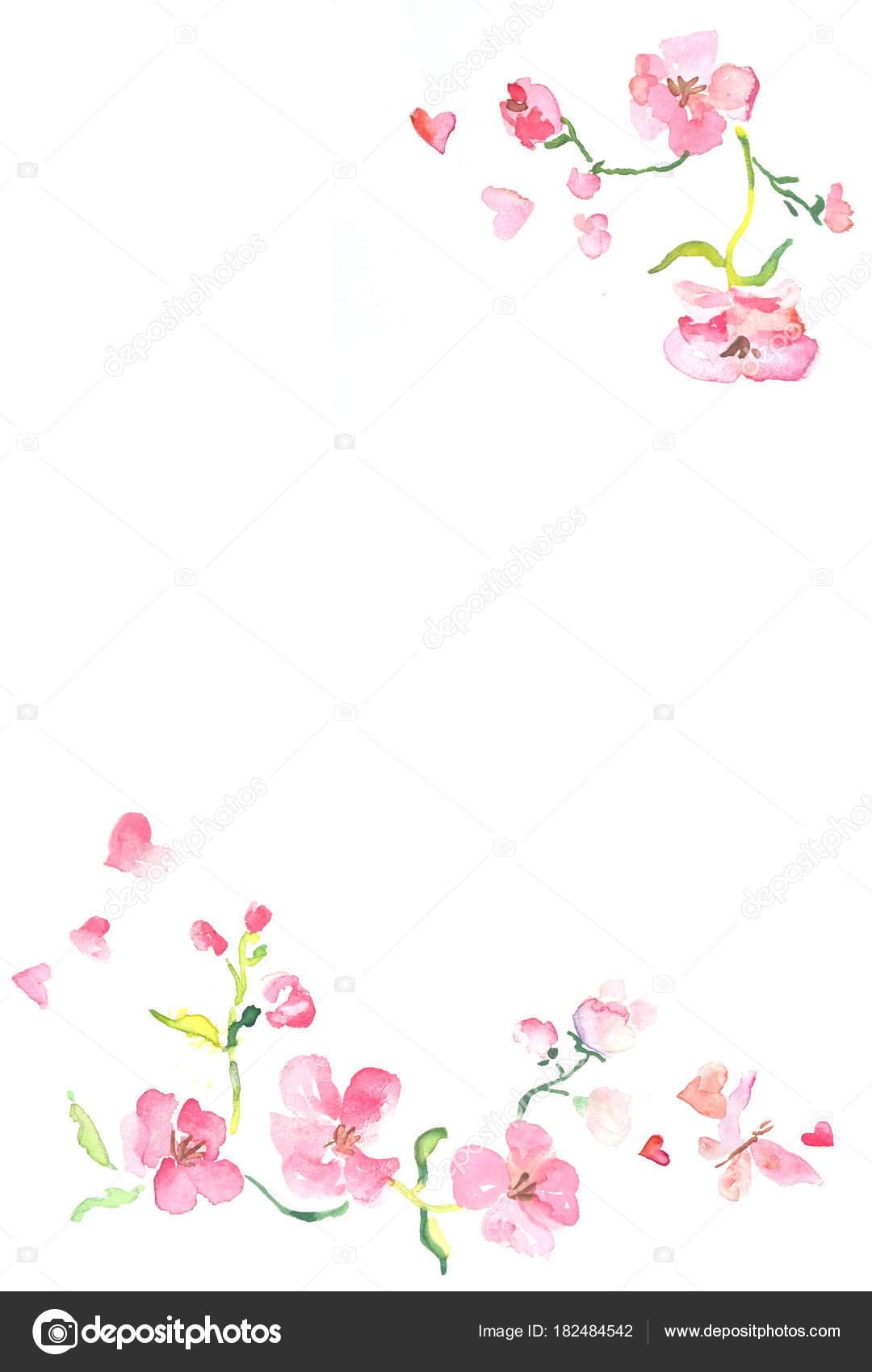 Marco Vertical Con Flores Color Rosa Mariposa Ilustración Acuarela ...