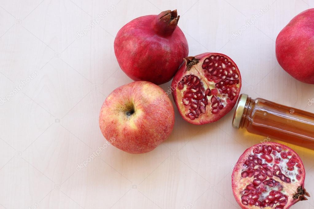 Pomegranates And Apples Symbols Of The Jewish New Year Rosh Hashana
