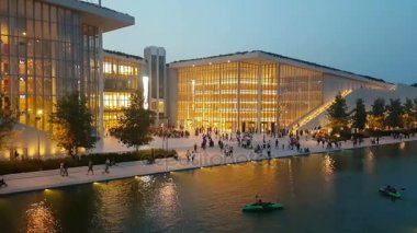 Athens, Greece 10 September 2017. Stavros Niarchos modern building with local people and tourists.