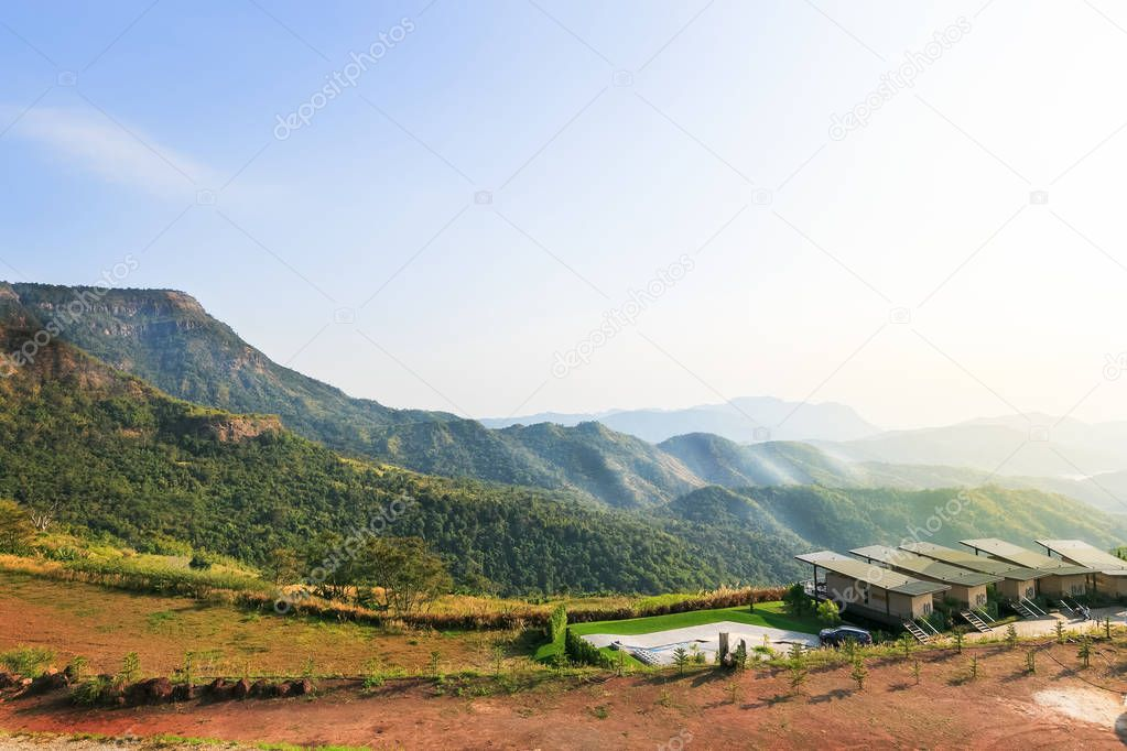 Winter of Landscape in a mountain village