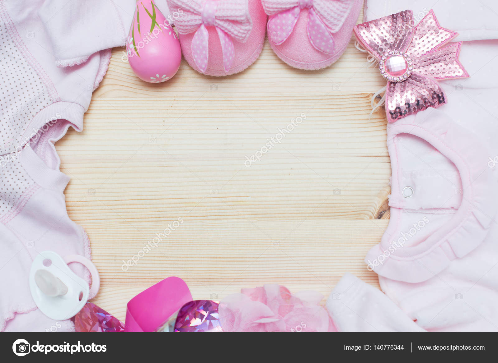 e788912079299 Its a Girl pink theme Baby Shower or Nursery background with decorated  borders on wood background