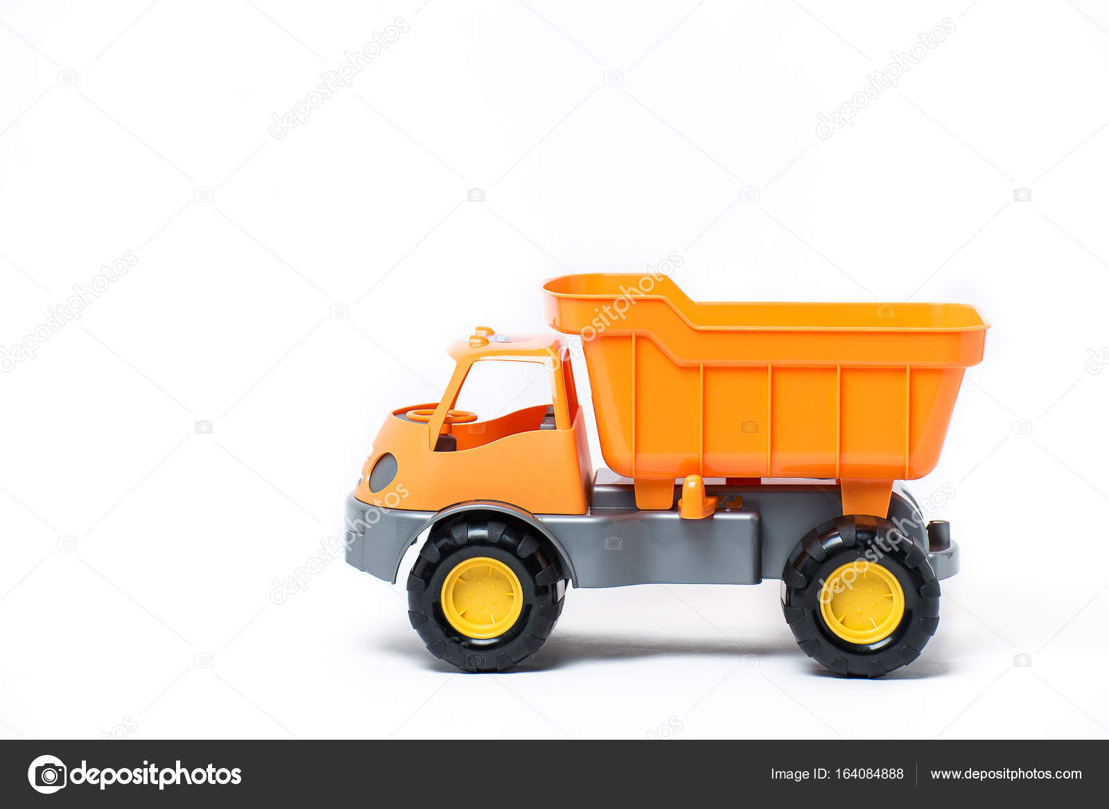 Camion En Enfants Isolés Sur Jouet Orange Plastique Fond Blanc Pour IyvgfYb76