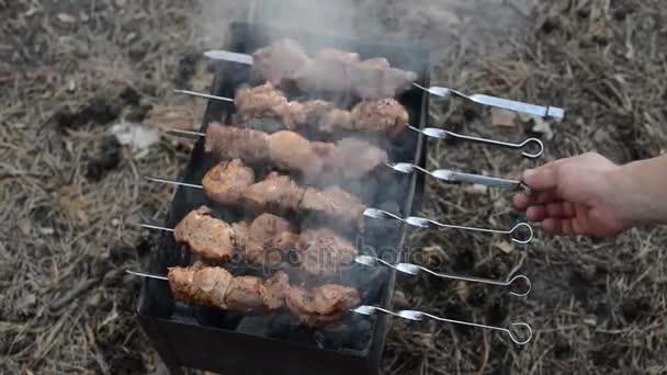 Vaření šíš kebab na jehle. Vaření vepřové maso na horké uhlí