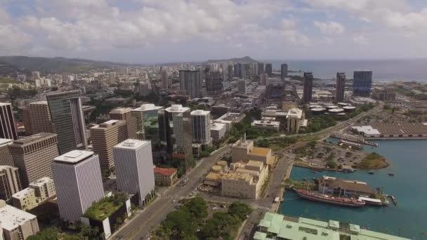 Légi Aloha Tower, és le a város Honolulu, Hawaii