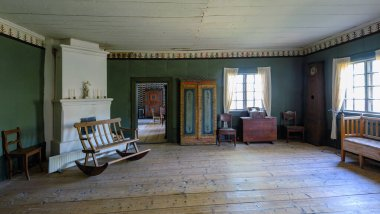 Vintage interior of living room in authentic main building of th