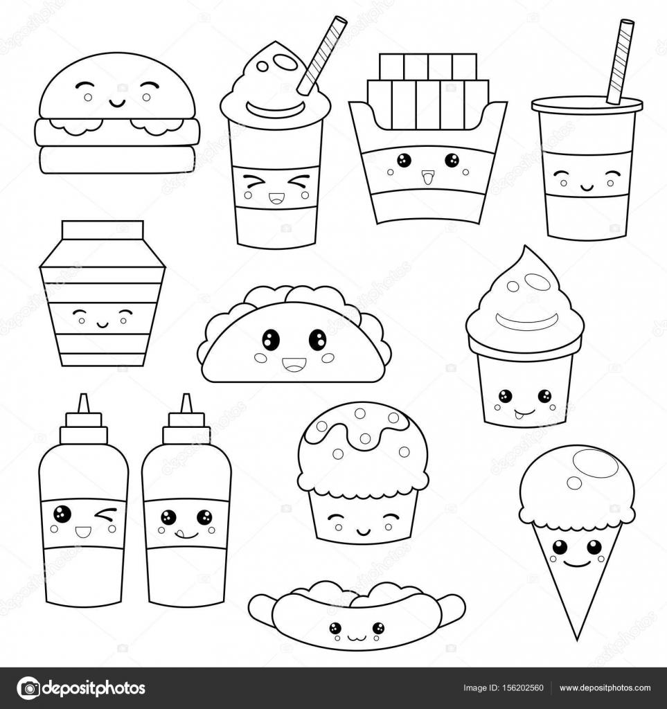 Linda comida rápida comida — Archivo Imágenes Vectoriales ...