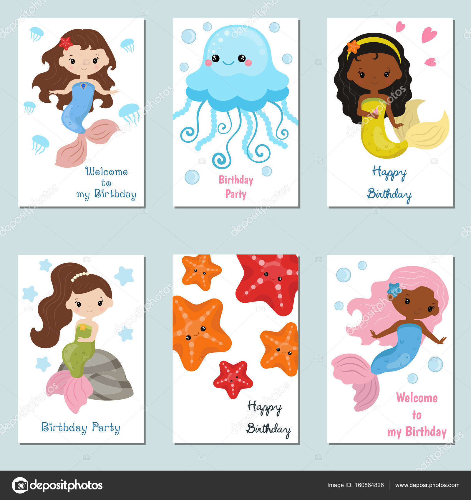Set Of Beautiful Birthday Invitation Cards Decorated With Cute Girl Mermaids And Sea Animals Vector By NinaMunha
