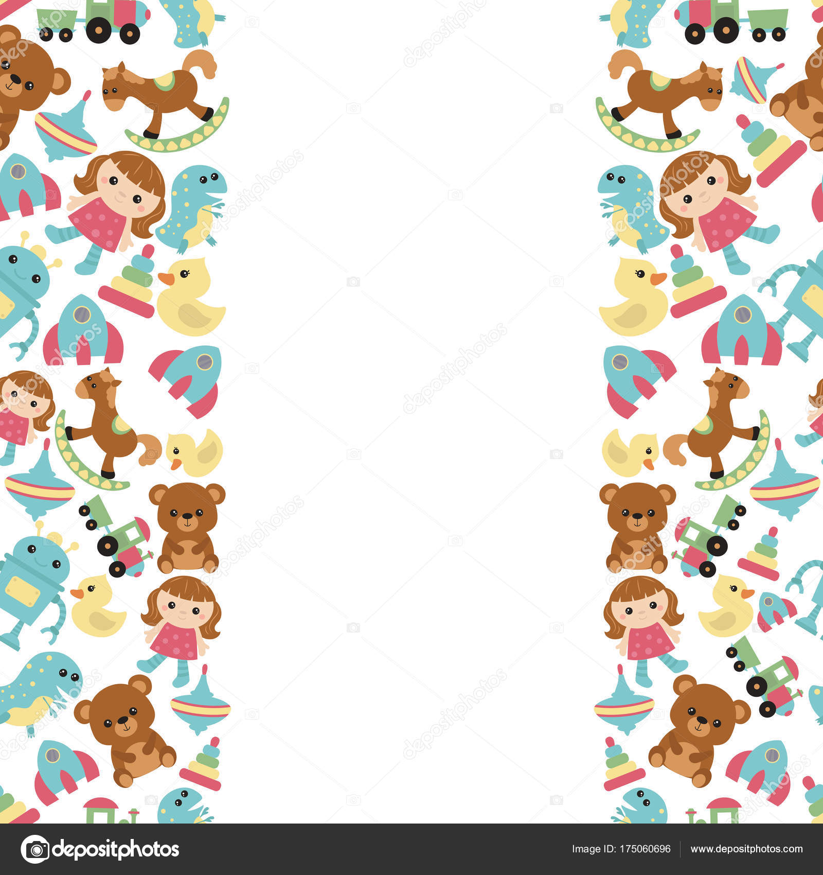 Background With Children Toys Stock Vector C Ninamunha 175060696