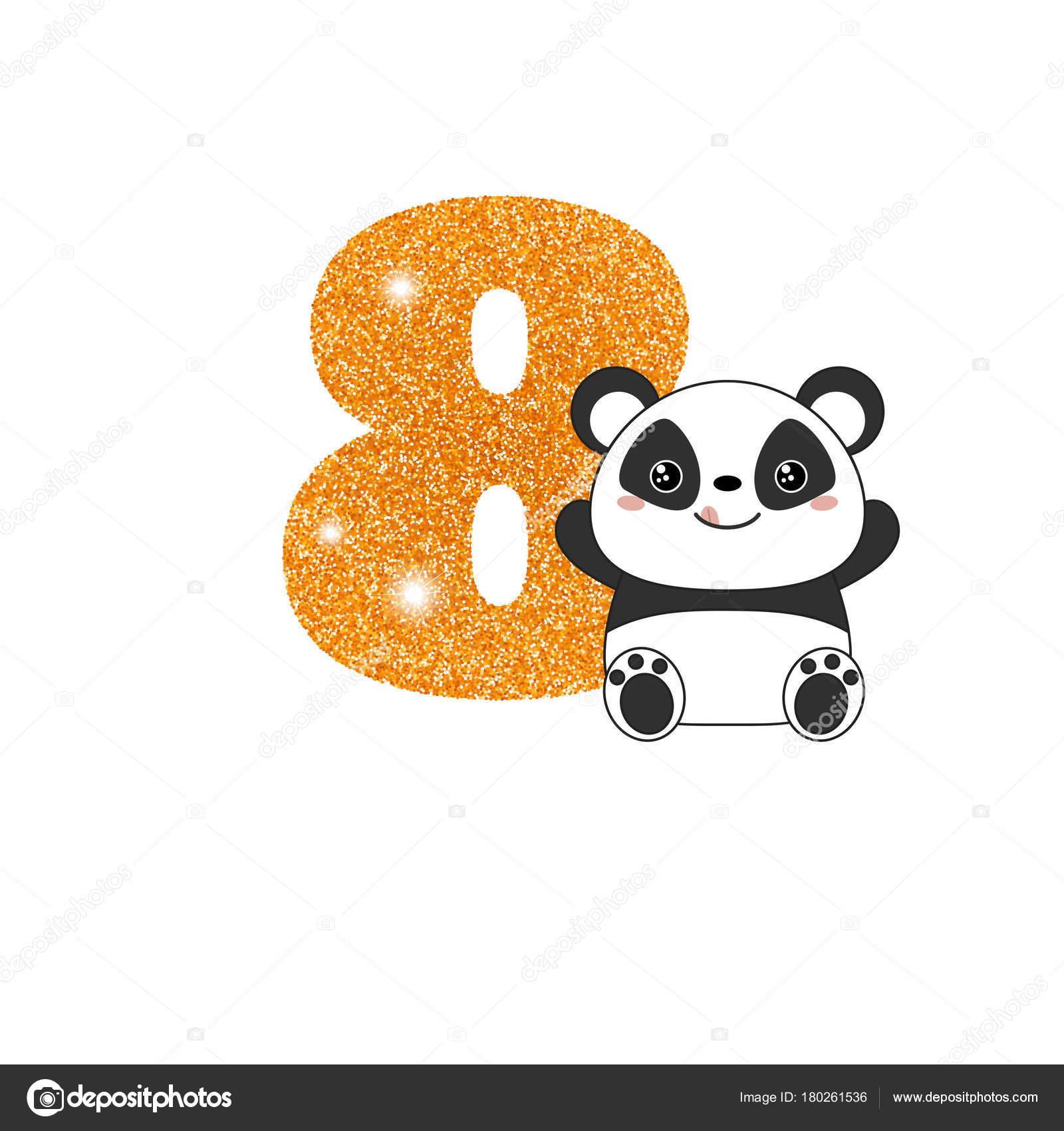 Birthday anniversary number with cute panda — Stock Vector ...
