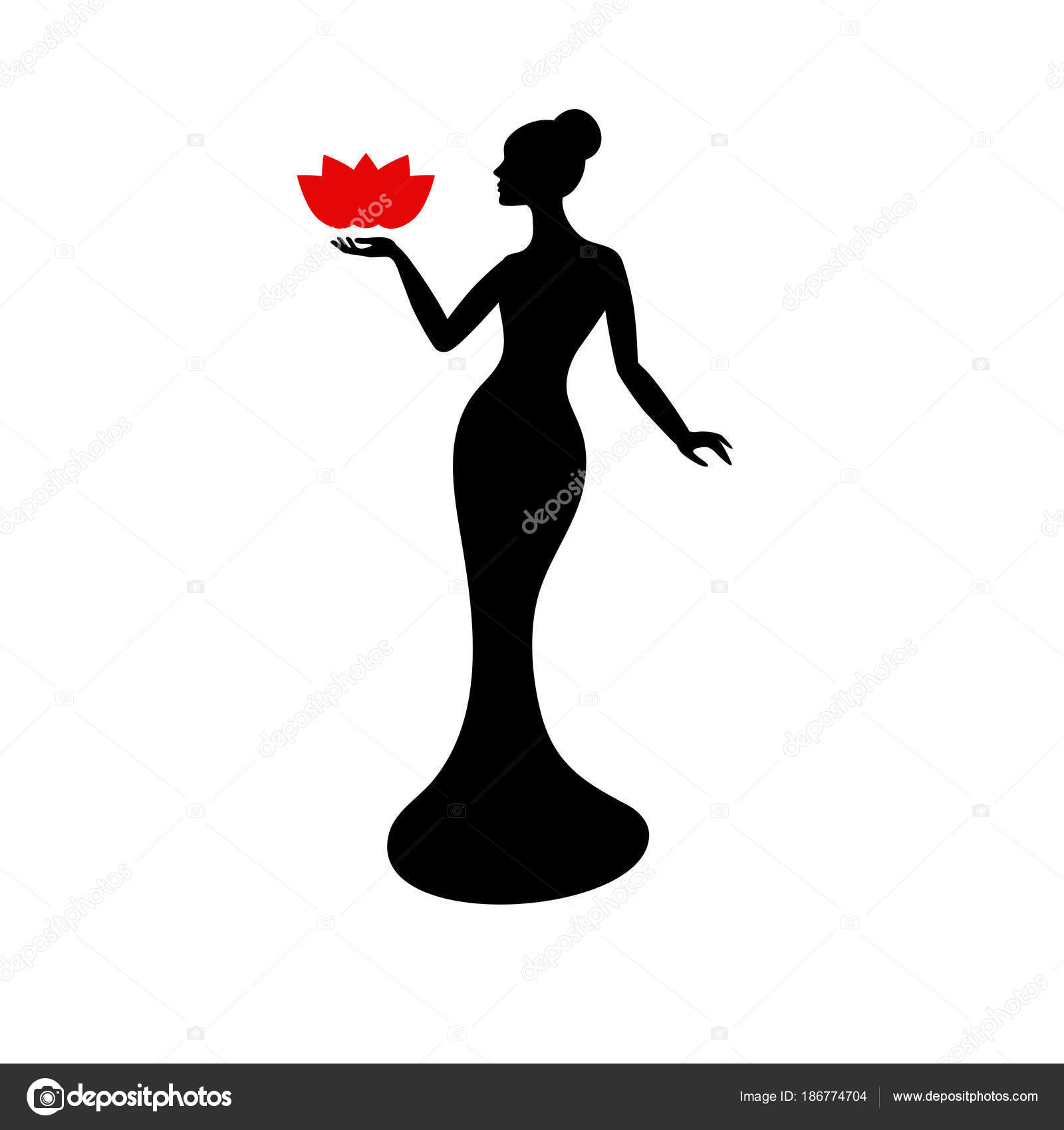 Beautiful Lady Silhouette Stock Vector Ninamunha 186774704