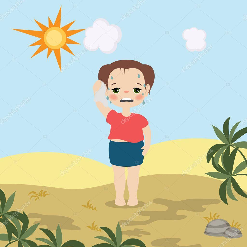 Chica clima caliente — Vector de stock © NinaMunha #194344998