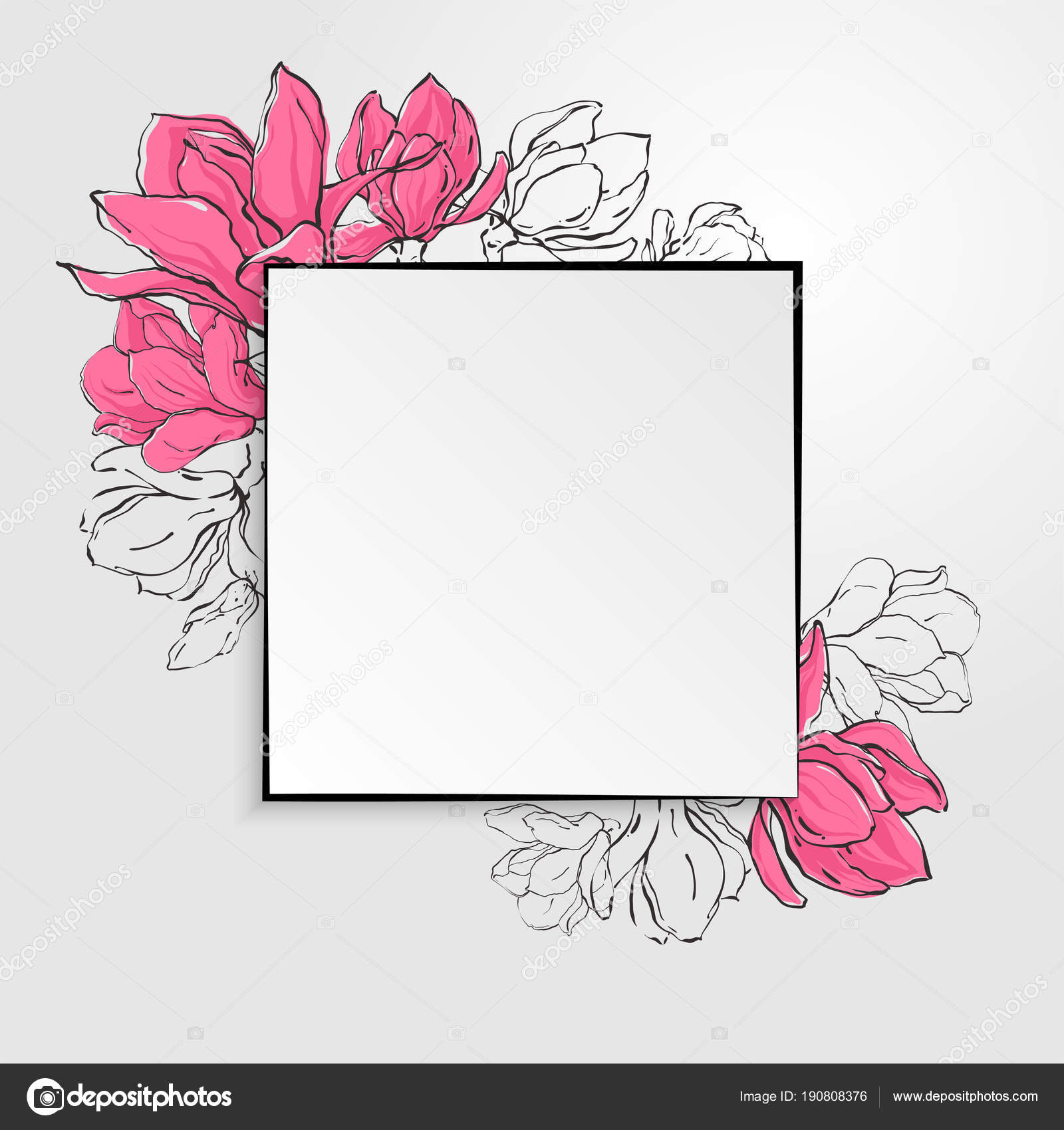 Banner template with square paper with black border and sketch banner template with square paper with black border and delicate sketch magnolia flowers vector by felinaart maxwellsz
