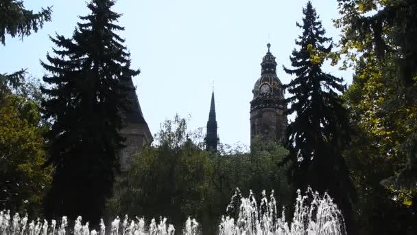 Tančící fontány nad katedrálou v Košicích