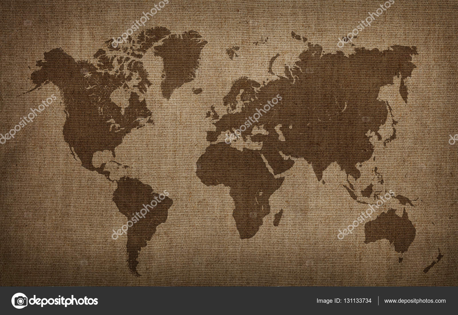 Uitgelezene Brown world map on old vintage flax linen canvas — Stock Photo BE-78
