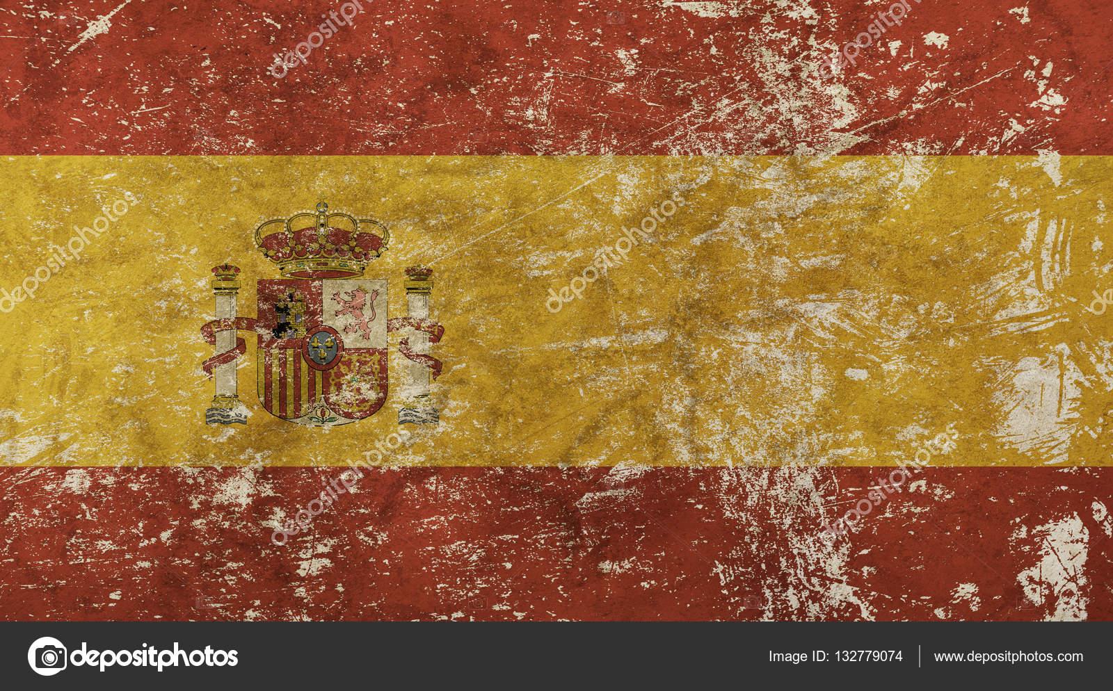 old grunge vintage faded kingdom of spain flag u2014 stock photo