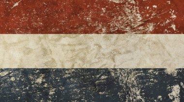 Old grunge vintage faded flag of Netherlands