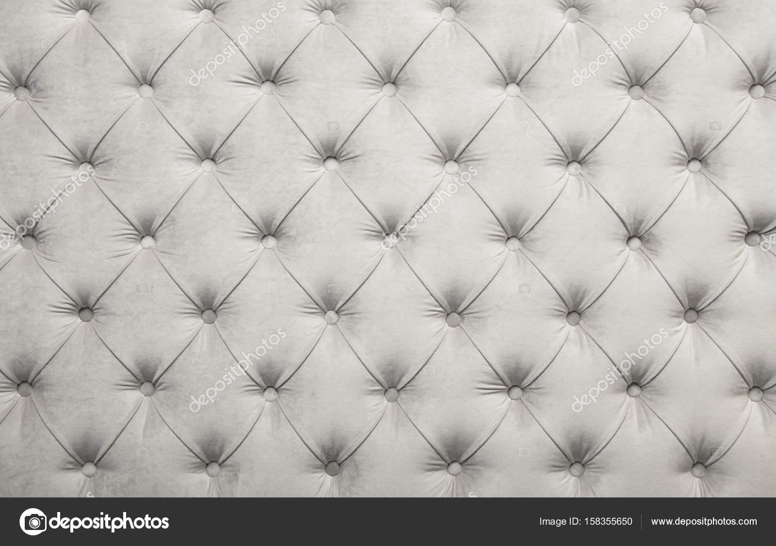 Textura de tapicería de tela capitone blanco con penacho — Fotos de ...
