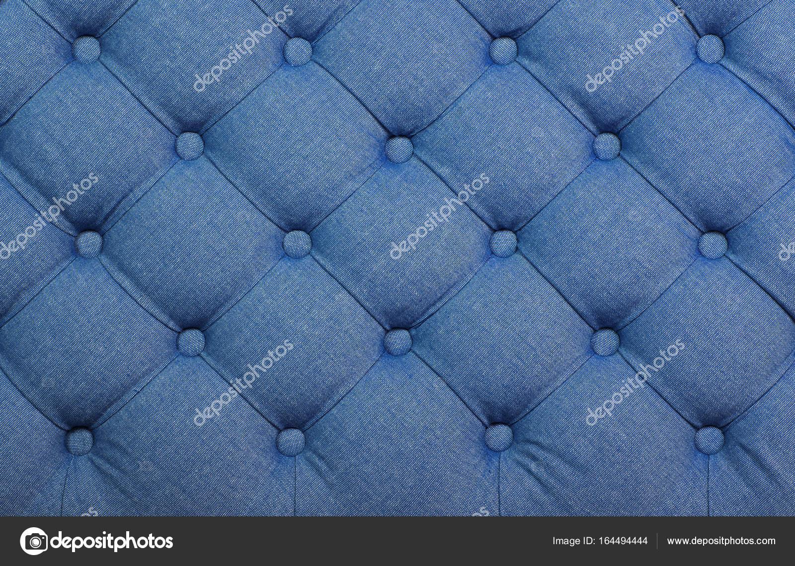 Textura de tapicería de tela con penacho azul capitone — Fotos de ...