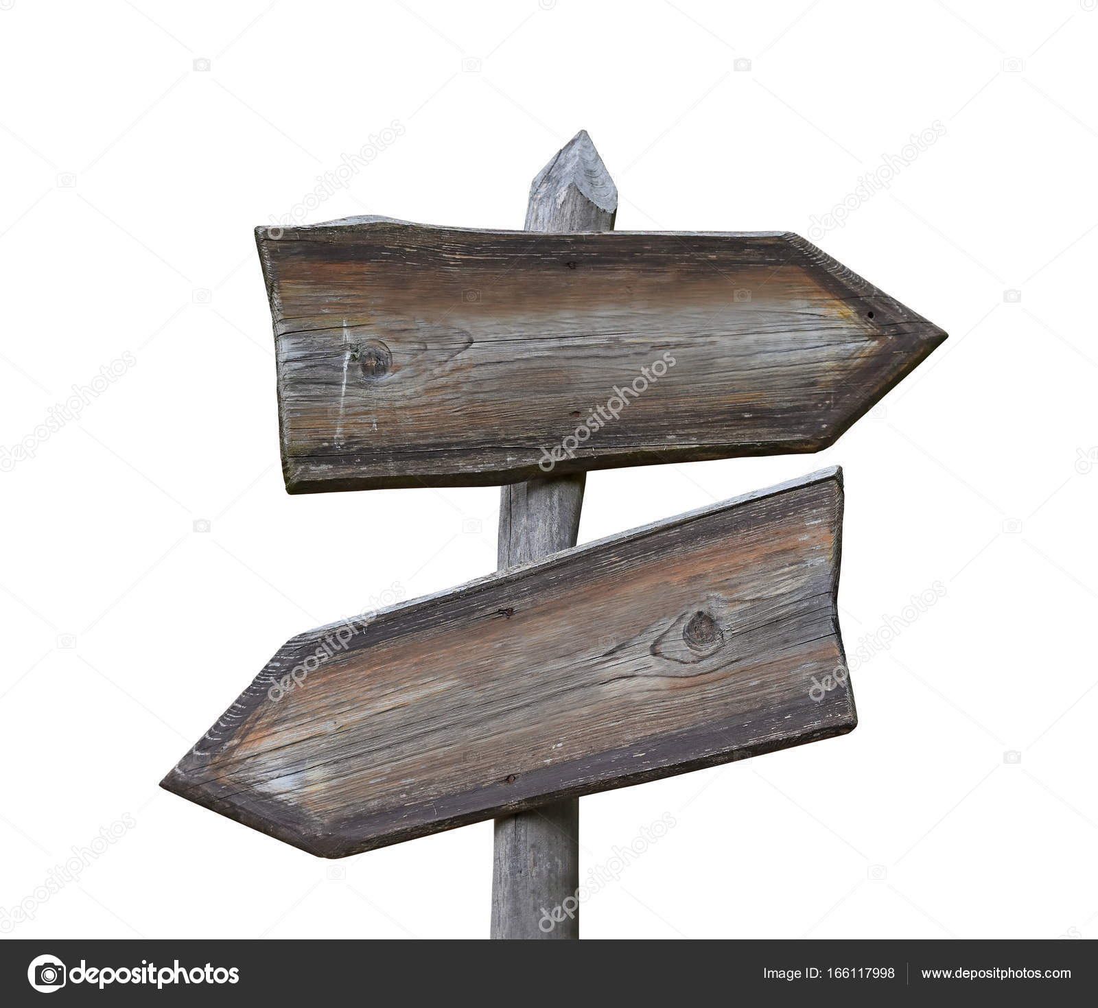 old wooden road sign with two arrows isolated � stock