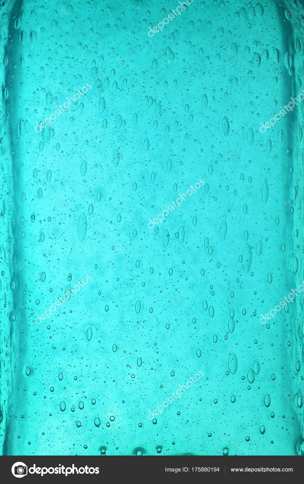 Trama Di Sfondo Verde Acqua Vetro Blu Con Le Bolle Foto Stock
