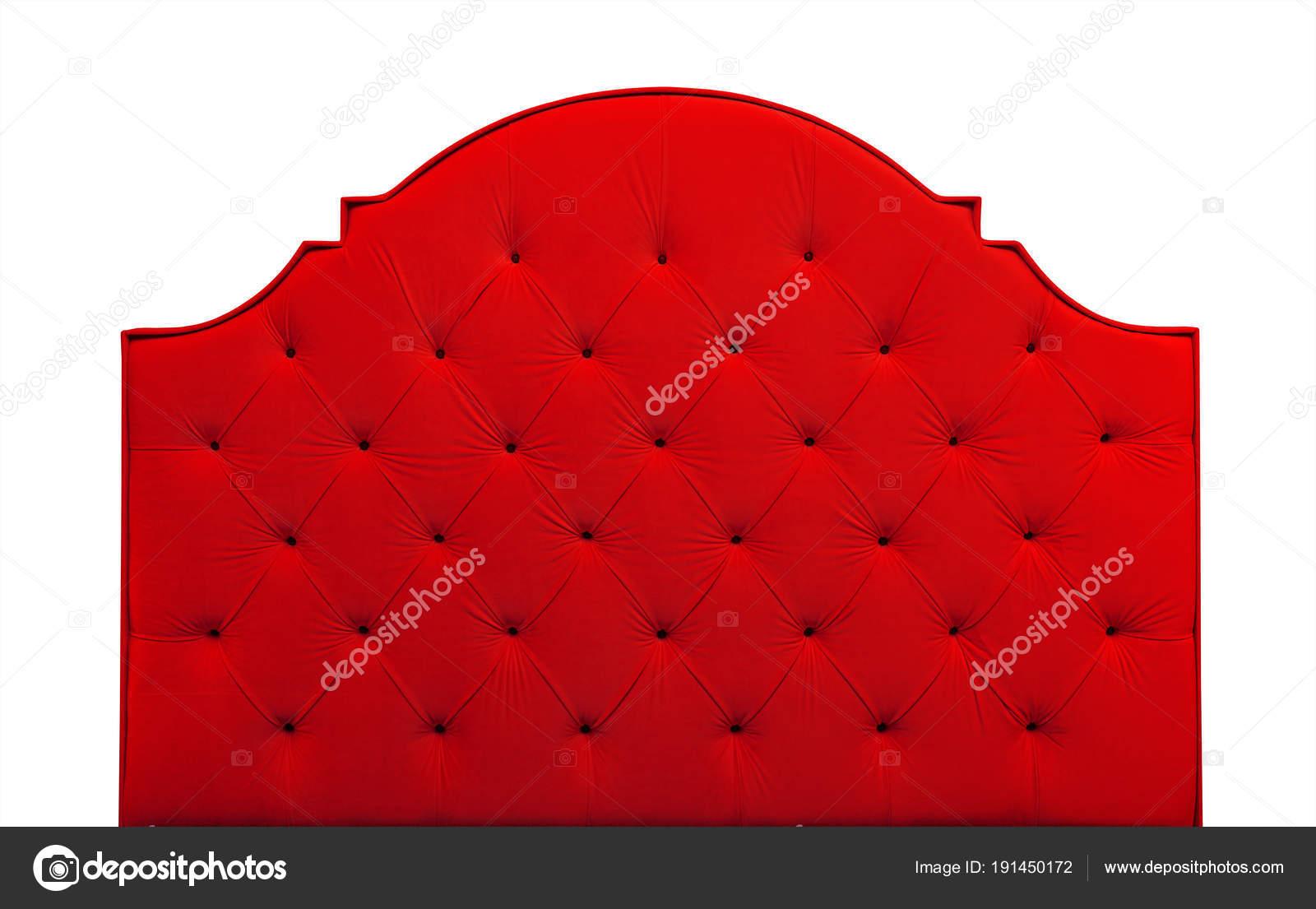 Cabecera de la cama de terciopelo rojo aislado en blanco — Fotos de ...