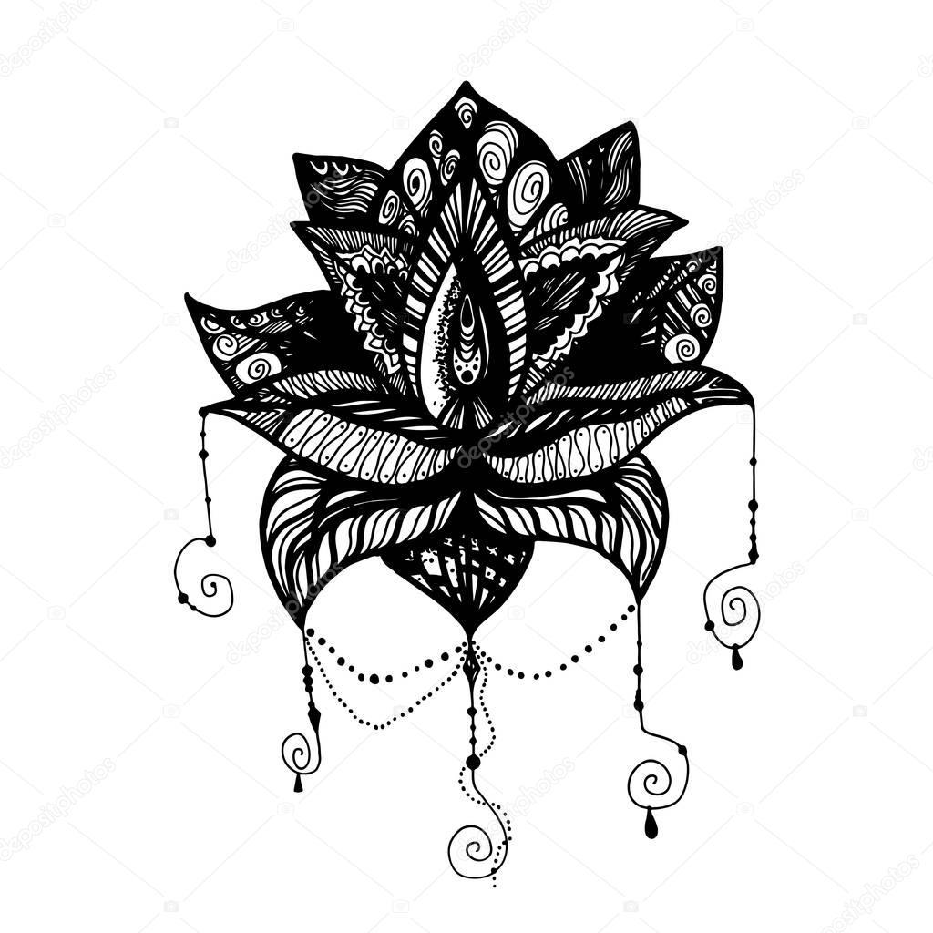 Kwiat Lotosu Tatuaż Grafika Wektorowa Barsrsind 130505566
