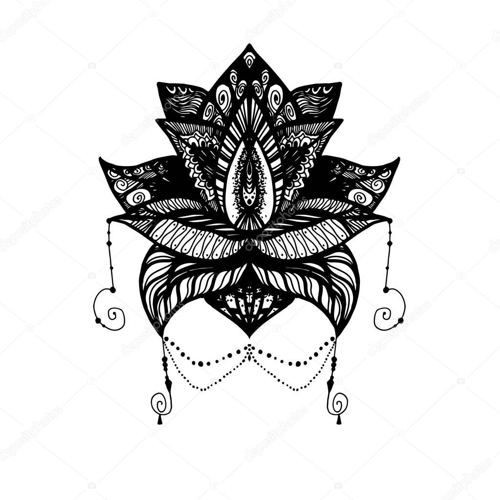 Flower lotus tattoo stock vector barsrsind 130505818 flower lotus magic symbol for print tattoo coloring bookfabric t shirt cloth in boho style tribal lotus design vector vector by barsrsind izmirmasajfo Images