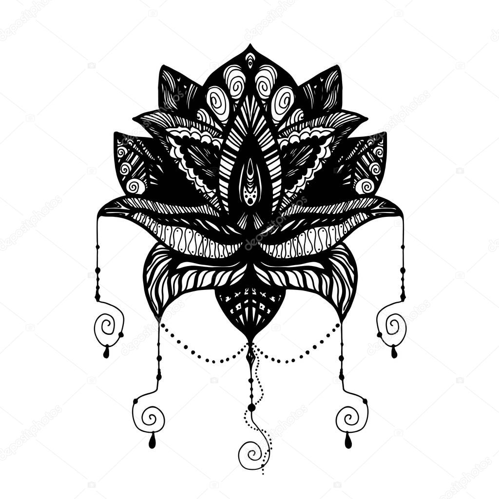 flower lotus tattoo � stock vector 169 barsrsind 130505820