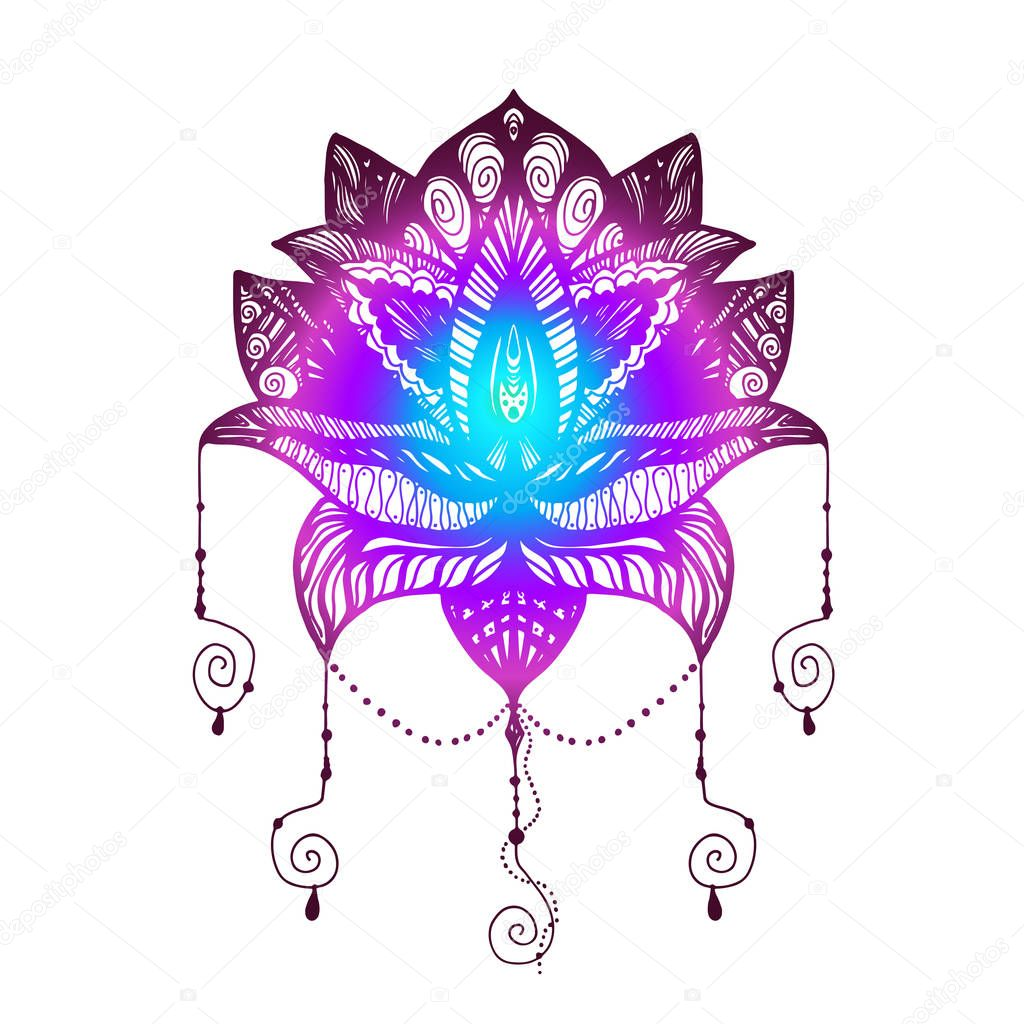 Flower lotus tattoo stock vector barsrsind 130505936 flower lotus magic symbol for print tattoo coloring bookfabric t shirt cloth in boho style tribal lotus design vector vector by barsrsind izmirmasajfo Images
