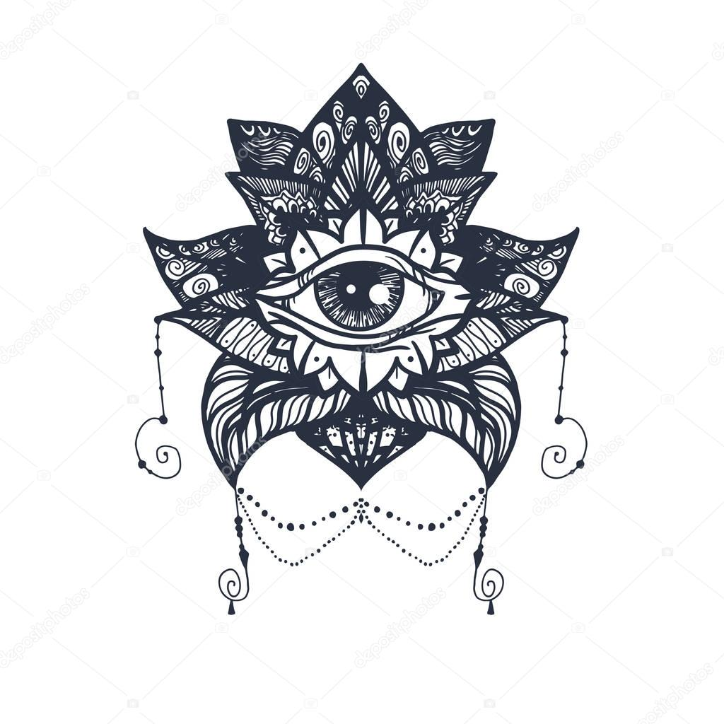 eye on lotus tattoo � stock vector 169 barsrsind 130506194