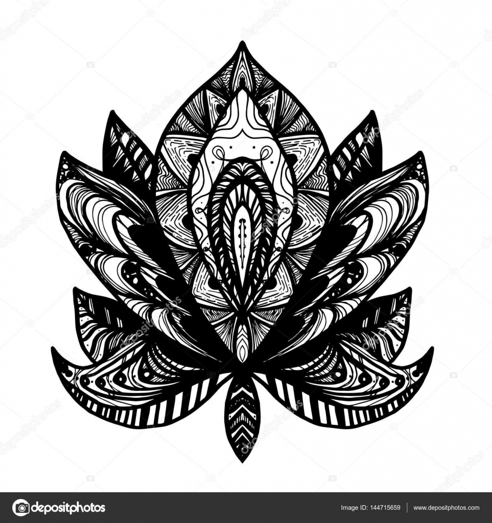 flower lotus tattoo � stock vector 169 barsrsind 144715659