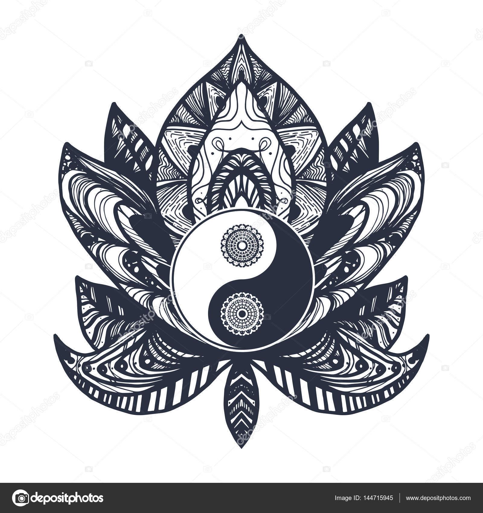 Vintage Yin And Yang In Lotus Stock Vector C Barsrsind 144715945