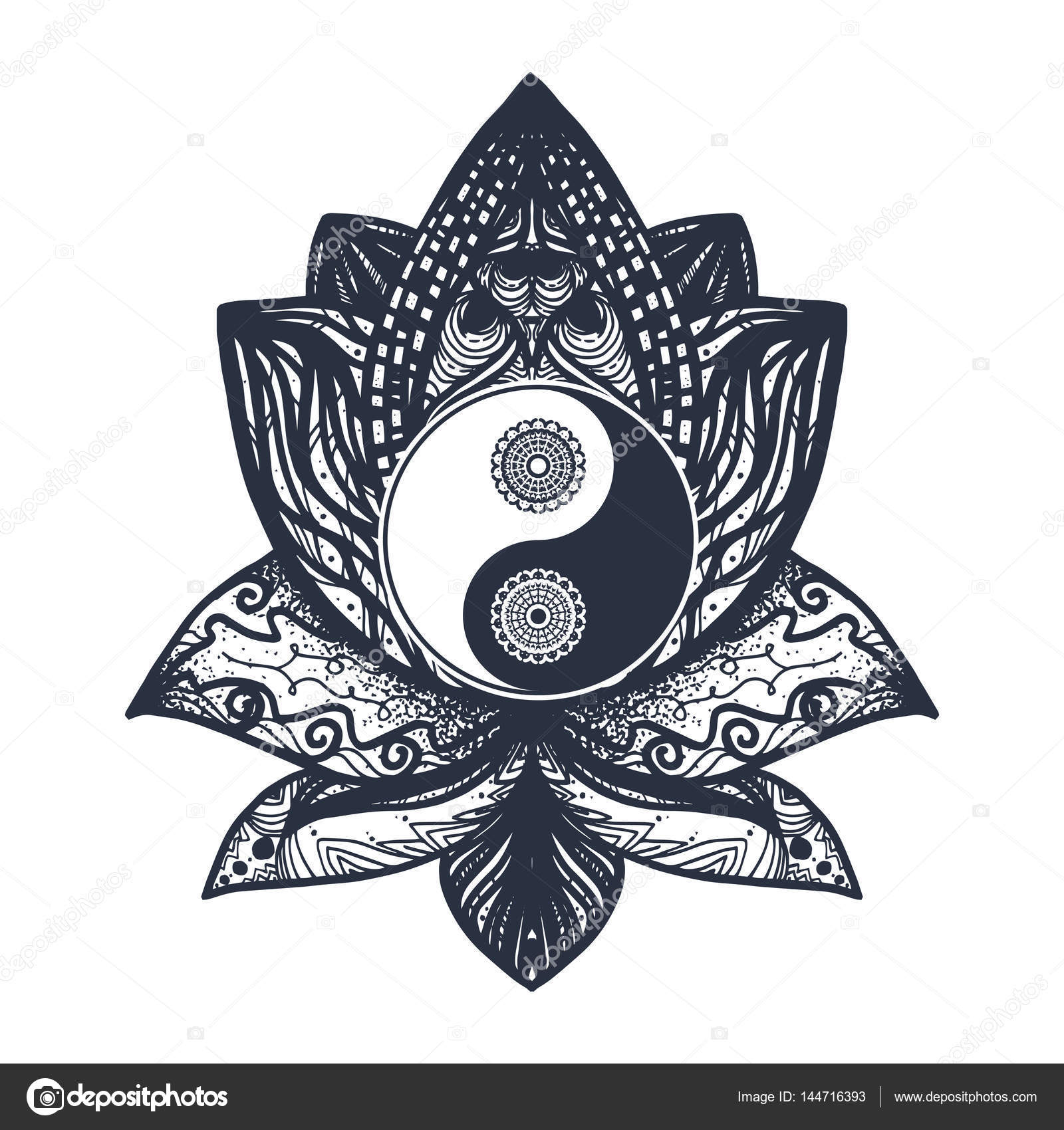 Vintage yin and yang in lotus stock vector barsrsind 144716393 tao symbol for print tattoo coloring bookfabric t shirt yoga henna cloth in boho style mehndi occult and tribal esoteric and alchemy sign buycottarizona Images