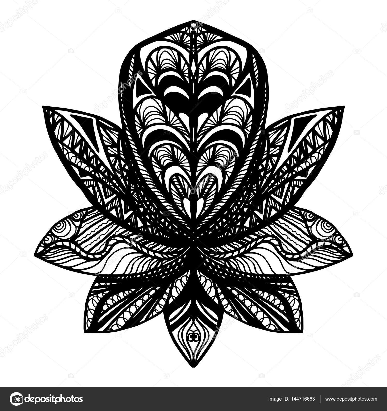 Kwiat Lotosu Tatuaż Grafika Wektorowa Barsrsind 144716663