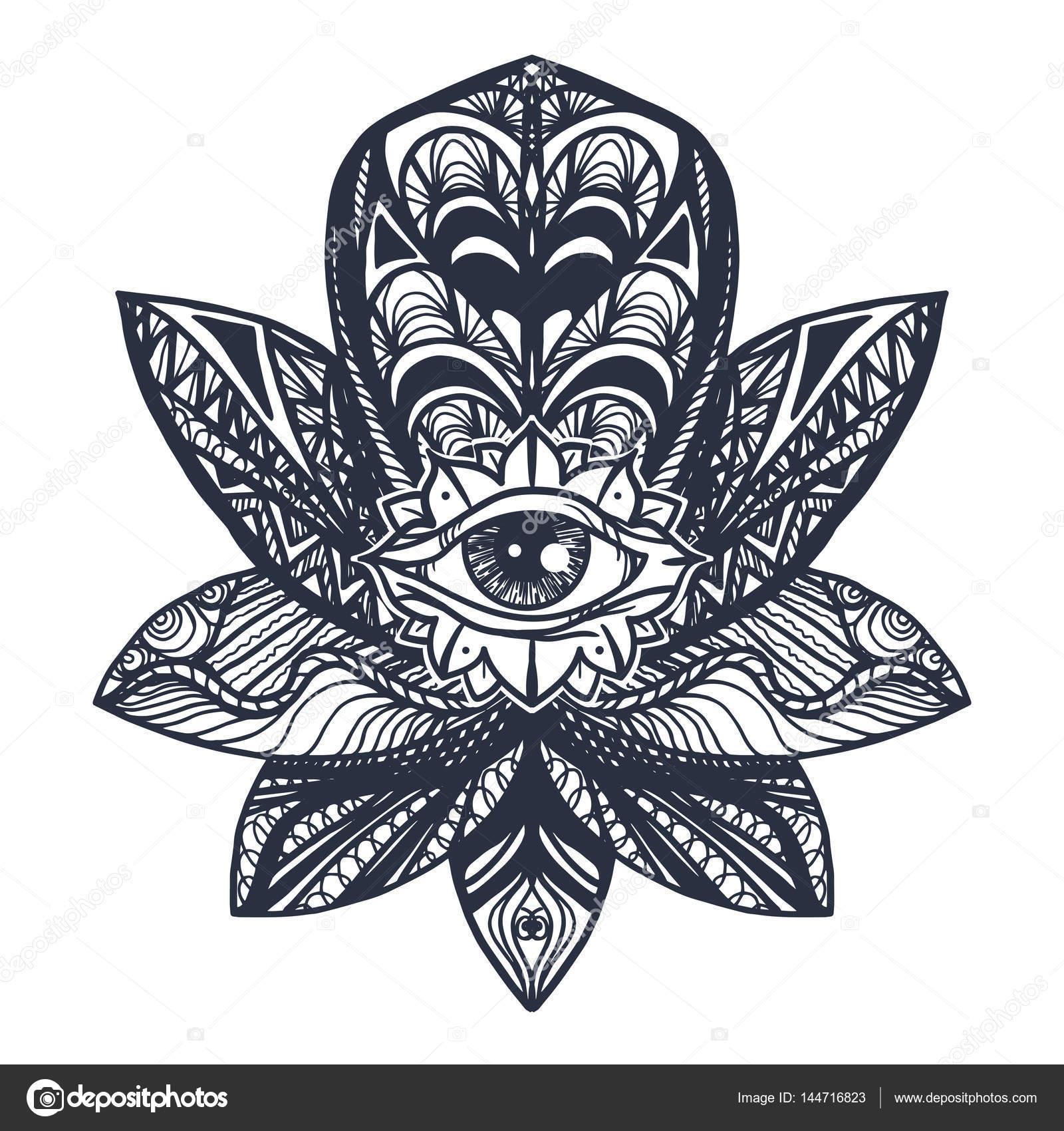 Eye On Lotus Tattoo Stock Vector Barsrsind 144716823