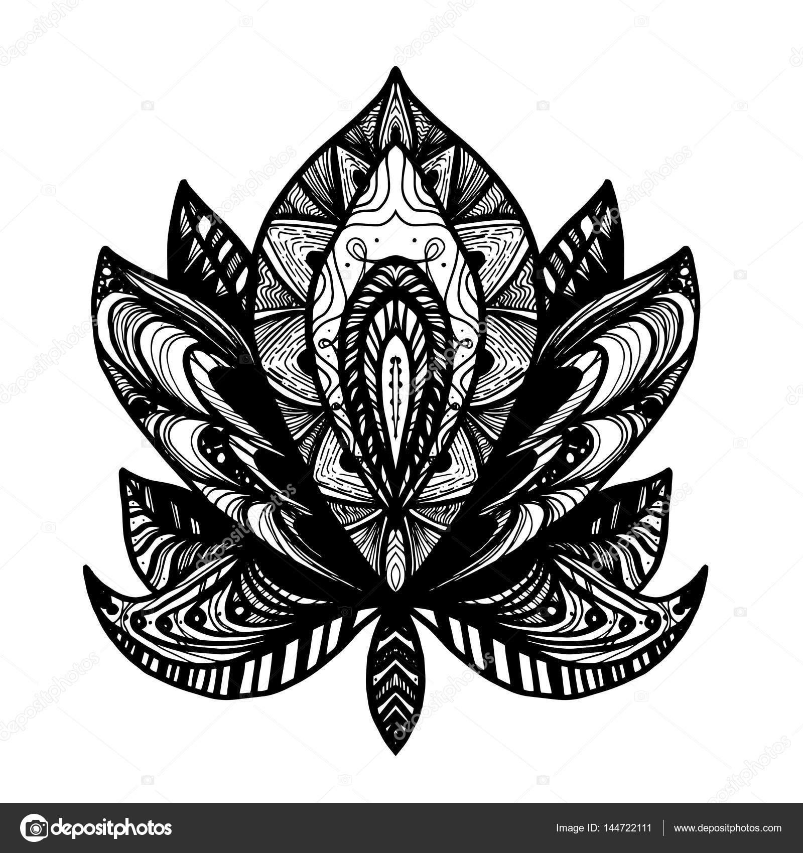 Flower lotus tattoo stock vector barsrsind 144722111 flower lotus magic symbol for print tattoo coloring bookfabric t shirt cloth in boho style tribal lotus design vector vector by barsrsind izmirmasajfo