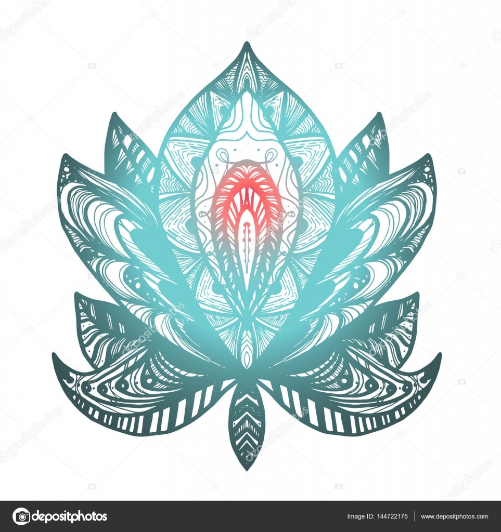 Flower Lotus Tattoo Stock Vector Barsrsind 144722175