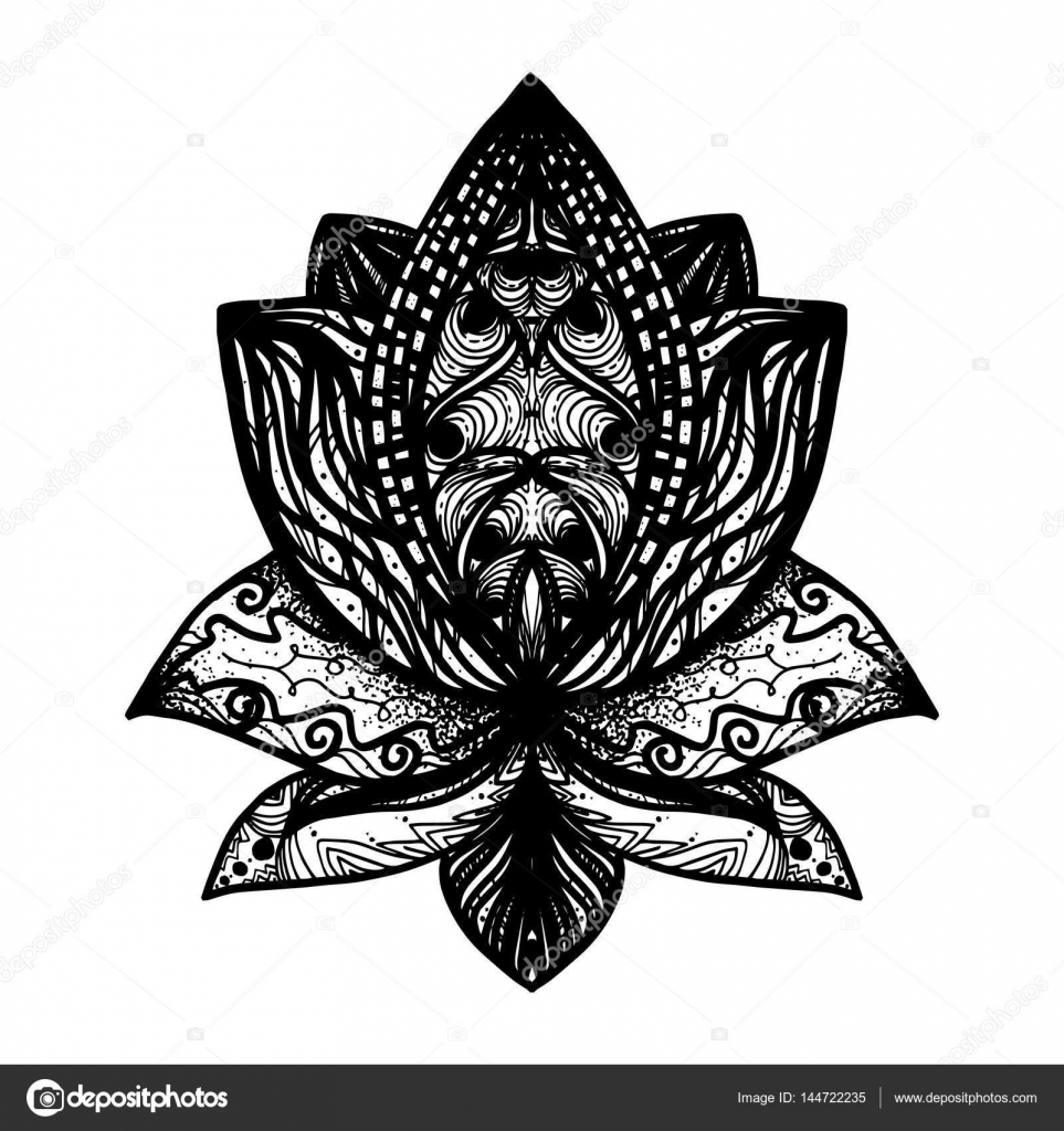 Flower lotus tattoo stock vector barsrsind 144722235 flower lotus magic symbol for print tattoo coloring bookfabric t shirt cloth in boho style tribal lotus design vector vector by barsrsind izmirmasajfo