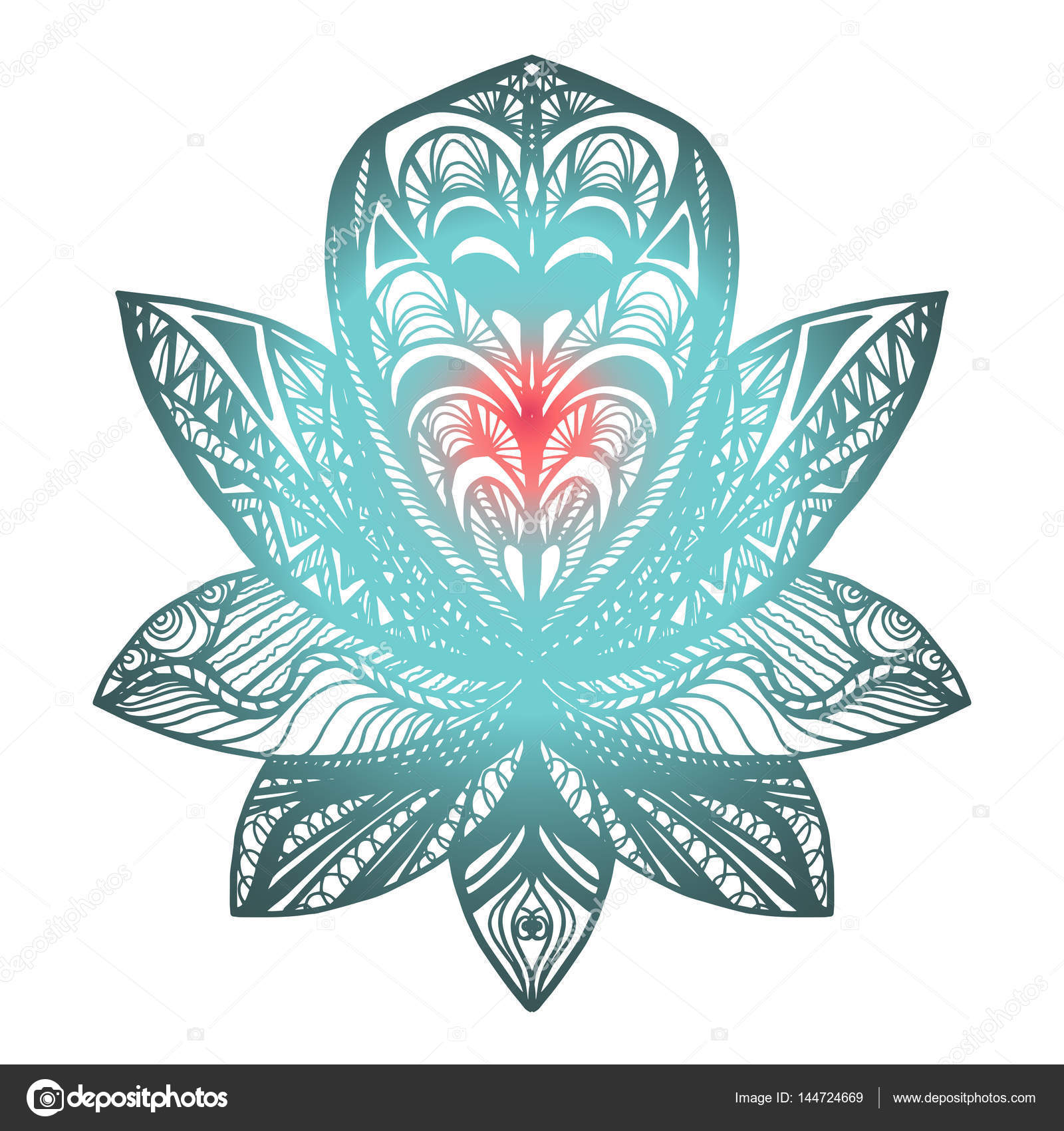 Flower lotus tattoo stock vector barsrsind 144724669 flower lotus magic symbol for print tattoo coloring bookfabric t shirt cloth in boho style tribal lotus design vector vector by barsrsind izmirmasajfo Images
