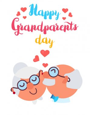 Happy Grandparents Day Greeting Banner with dancing and smiling grandfather and grandmother. Vector clip art vector