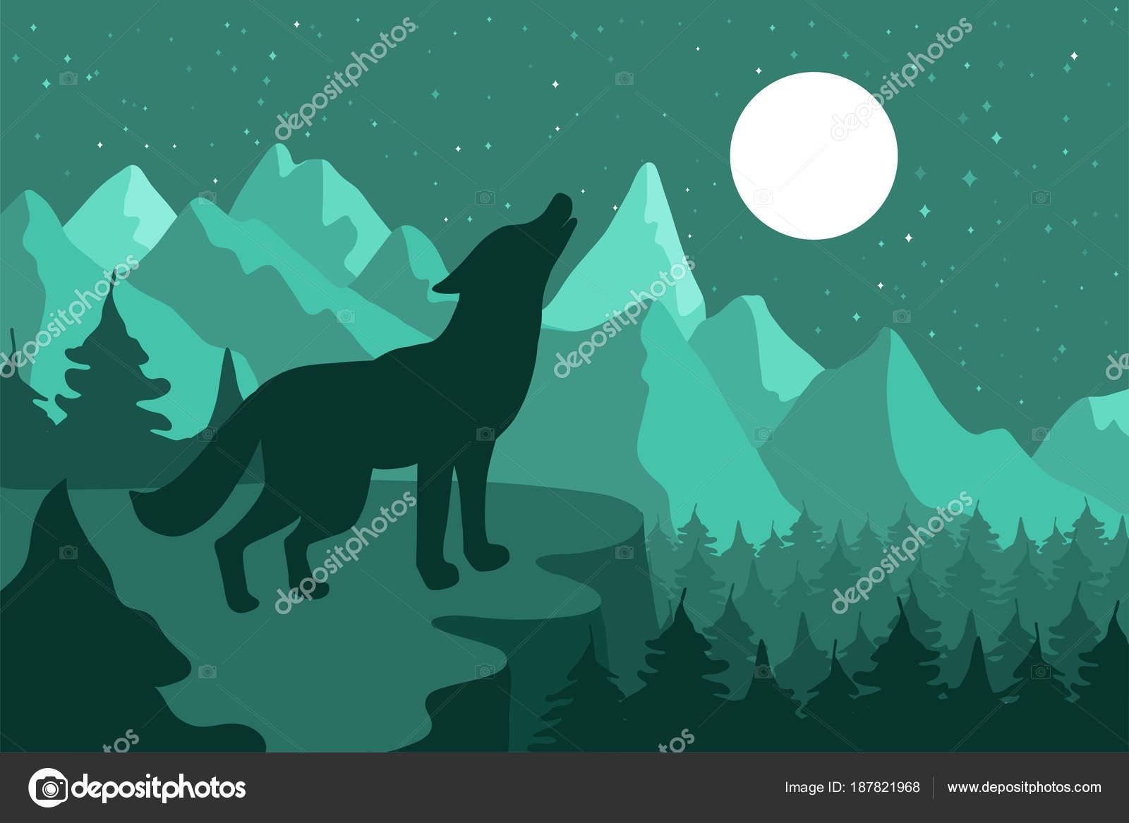 Loup Dans La Foret De Coniferes De Nuit Pres Des Montagnes Sous La